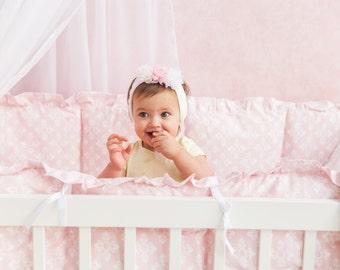 Fidera Pink Girl bedding, Pink Crib Bedding, Baby Girl Bedding, Nursery Crib set, Crib Bumper, Nursery Bedding, Bumperless Crib Bedding