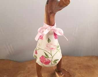 Small Wooden Pink Floral Duck