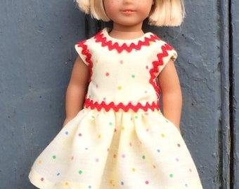 "6"" mini doll  polka-dot play dress with red trim"