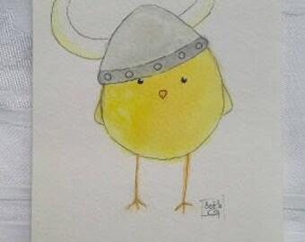 Viking Chick - Original Watercolor and Pen Painting