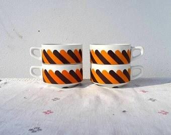 Set of 4 coffee tea mugs / cups / Vintage / germany / Schonwald / Vintage / retro / Kitchen / Old / Seventies / Orange / Brown