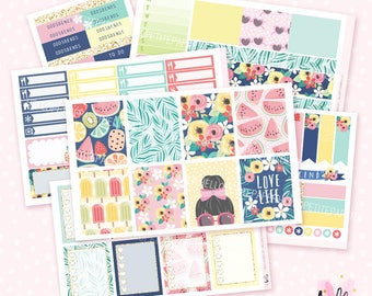 Hello Summer - 6 sheets sticker kit for Erin Condren, Happy Planner