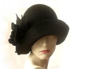 SALE-15% Black felt hat felt Cloche hat felted hat Hat 1920 Hat Art  Black Hat Cloche Victorian 1920's Women's hat roses Downton Abbey hats