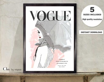 Vogue Poster, Vogue Print, Printable Art, Wall Art, Gift For her, Fashion Wall Art, Vogue cover 1950, Vogue Watercolor, French Edition