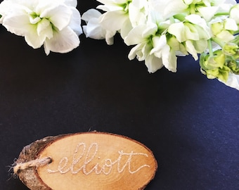 Personalized Wood Slice Hand Lettered Gift Tag
