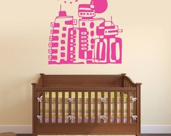 Wall Vinyl Decal Fantastic Cartoon City Futuristic Abstract Nursery Decor (#2411dn)