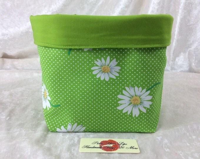 Daisy Flowers Fabric basket tall  reversible organiser bin storage. Handmade in England