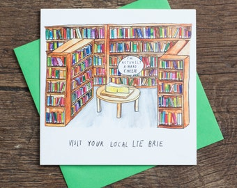 Lie Brie - Greetings Card - Pun - Humour - Library Books