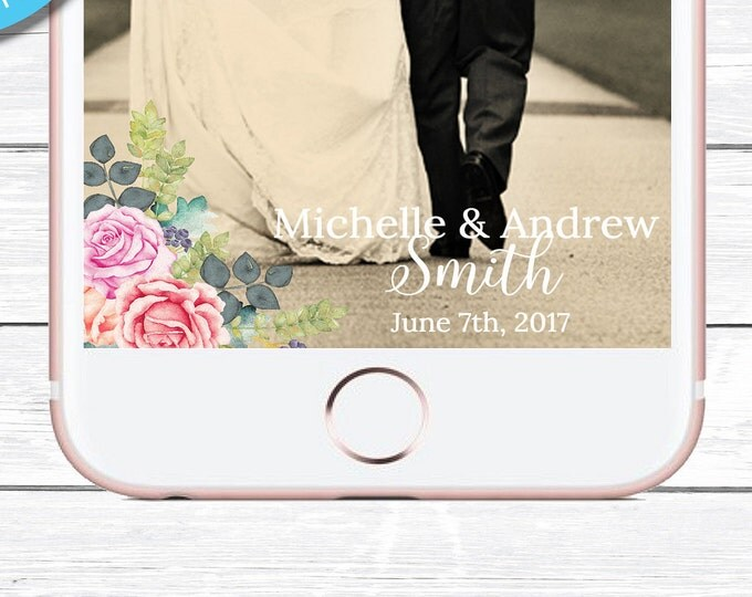 Wedding Snapchat Geofilter, Floral Snapchat Geofilter, Wedding Filter, Custom Geofilter, Snapchat Wedding, Wedding Geofilter, Snapchat, DIY