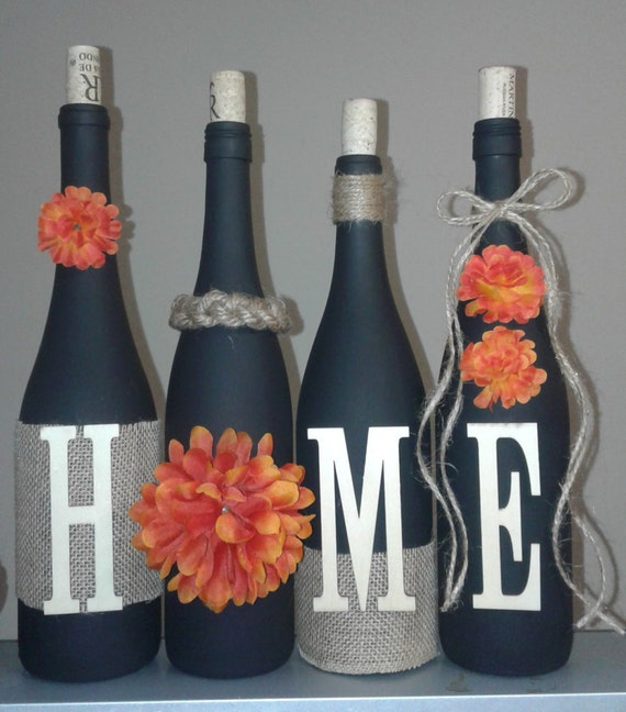 orange mum wine set, wine bottle craft, wine bottles craft, rustic, wine bottles, burlap, twine, house warming gift, wine bottle crafts