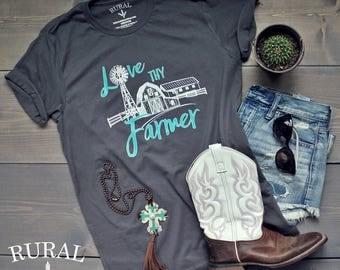 Love Thy Farmer Graphic Tee | Unisex Tee, Farmer, Farming, Country Girl Shirt, Farmhouse, Farmer Shirt, Farmer Tee, Farm Shirt, Farmers Wife
