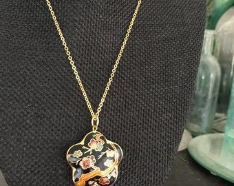 Cloisonne pendant, cloisonne pendants,  black cloisonne pendant, enamel pendants, cloisonné pendants, vintage cloisonné jewelry,  N223