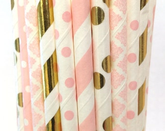 2.85 US Shipping -Pink & Gold Foil Paper Straws - Gold Foil and Pink Straws - Cake Pop Sticks - Drinking Straws -Blush Pink