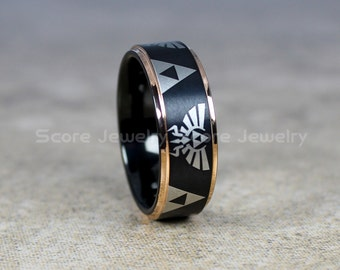FREE SHIPPING FREE Custom Engraving Tungsten Band with Rose Gold Step Edge Zelda Triforce Inspired Pattern Ring - 8mm Tungsten Wedding Ring