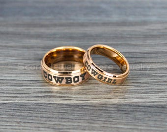 FREE SHIPPING Engraving 2 Piece Couple Set Tungsten Bands With Step Edge Cowboy Cowgirl