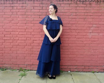 20's Style Vintage Evening Gown Size 14 Navy Blue Floor Length 1920's 1930's Vintage Ball Gown Your Sixth Sense