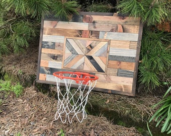 Rustic Wood Basketball Hoop - Small