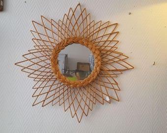 Mirror design to 1970 large diameter 60 cm - 20758 rattan wicker