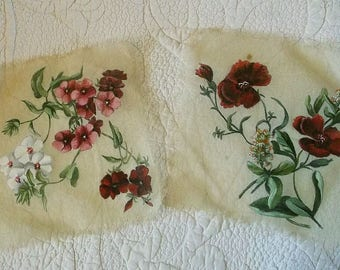 Vintage Hand Painted Gauze Squares