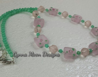 Pink & Green Frosted Glass Necklace