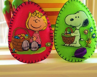 Peanuts Easter Decorations-Snoopy and Sally Easter Decorations-Easter Egg decor-Easter applique gifts-TWO 3D Felt and fabric Easter Eggs