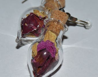 Real Dried Magical Three Roses Flower Glass Vial Earrings