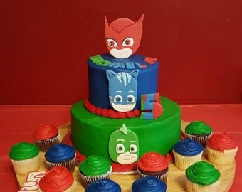 New, Larger Faces! PJ Mask Cake Toppers, Owlette, Cat Boy, & Gecko Topper Set