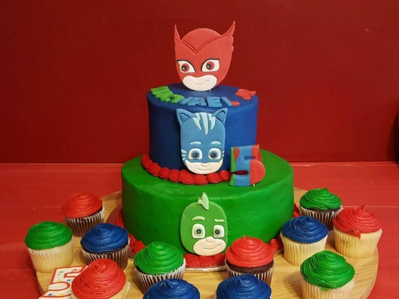 New Larger Faces PJ Mask Cake Toppers Owlette Cat Boy