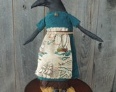 Seafaring Nautical Raven Crow Primitive Soft Sculpture Doll