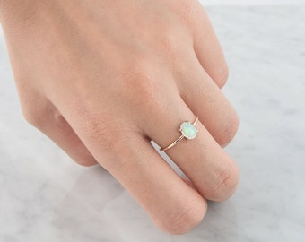 Opal ring, Unique Engagement Ring, 14K Solid Gold Ring, October Birthstone Ring, Stacking rings
