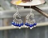 Lapis Lazuli Tibetan Silver Leaves  Chandelier Earrings   ~ Hippie Style  ~ Boho Blue ~ Semi Precious Stones ~ Nature Lover Gift