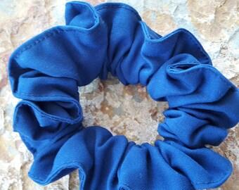 Handmade,bright,royal blue,gabardine, large scrunchie/hair tie/ponytail tie/holder/bun tie holder/tie/up hair holder/thick braids holder/tie