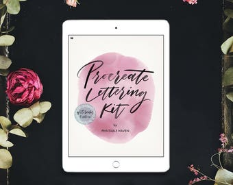 Procreate Watercolor Brush lettering kit for the iPad Pro, Watercolor Lettering Edition, Calligraphy kit for the iPad Pro, Procreate App.