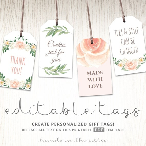 Printable Baby Shower Labels Editable Gift Tags Bridal