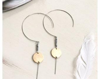 Full Moon Threader Earrings, Threader Hoops, Moon Hoops, Moon Earrings