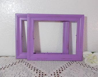 Purple Picture Frame 8 x 10 Shabby Chic Rustic Distressed Up Cycled Vintage French Country Farmhouse Romantic Cottage Home Decor Gift Her