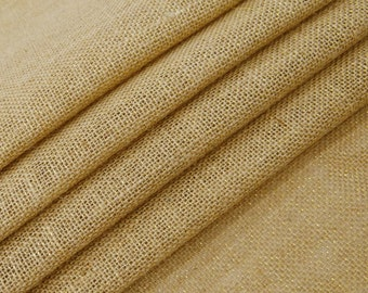 "Natural Fabric, Beige Burlap, Beige Jute Fabric, Rustic Fabric, Home Accessories, Sewing Crafts, 57"" Inch Wide Jute Fabric By The Yard ZJC3C"