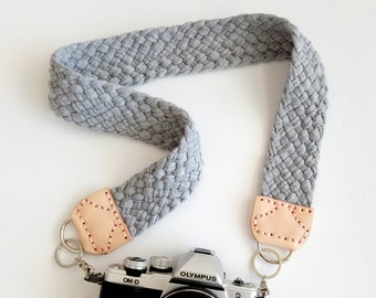 Camera Strap with Braided Gray Marle Fabric Yarn, Natural Leather Ends & Pink Stitching, Modern and Comfortable Woven Jersey Strap for dslr
