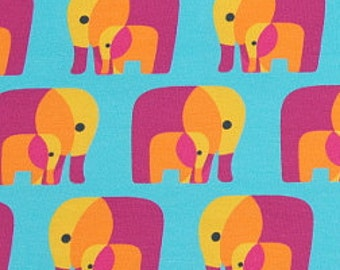 Pink and Turquoise Elephants. Me and You Jersey Cotton Knit Fabric. Cut length 145cm
