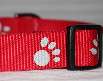 """Reflective Paw Print Dog Collar - Choose Side Release Buckle or Martingale  (1"""" Width)"""