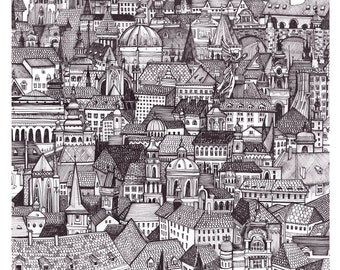 Prague - High quality giclee print of hand drawn illustration of czech republic city / Architecture inspired / Wanderlust