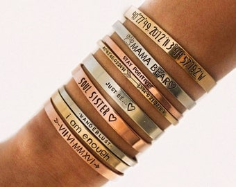 Fast Shipping/ Personalized Cuff Bracelet, Custom Coordinates, GPS Bracelet, Stacking Bracelets, Engraved Cuff, Gold Cuff, Name Bracelet