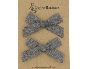 Chambray Hand-Tied Bow // Pigtail Set