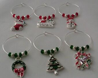 Christmas holiday themed wine charms
