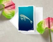 Blue Whale - Blank Greeting card / Watercolor / Baby whale / Animal / Birthday card / Mothers day card / Gift for mom / Gift for kids