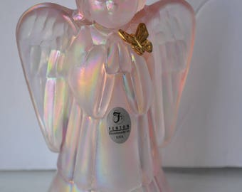 Fenton angel, pink girl with butterfly, girl praying, angel wings, irediscent glass, carnival glass, vintage glass, signed figurine