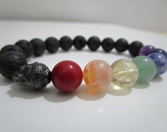 Seven chakras, bracelet seven chakras, clasp, bracelet for women, Buddhist jewelry, Yoga bracelets, gift for woman, Lava volcan bracelet
