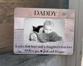 SUMMER SALE Fathers Day Frame Gift Personalized Picture Frame for Daddy  First Fathers Day 4x6 Personalized Picture Frame