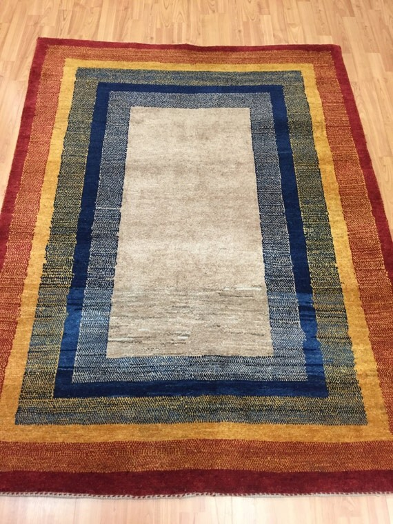 "4'2"" x 5'6"" Persian Gabbeh Oriental Rug - Hand Made - 100% Wool"