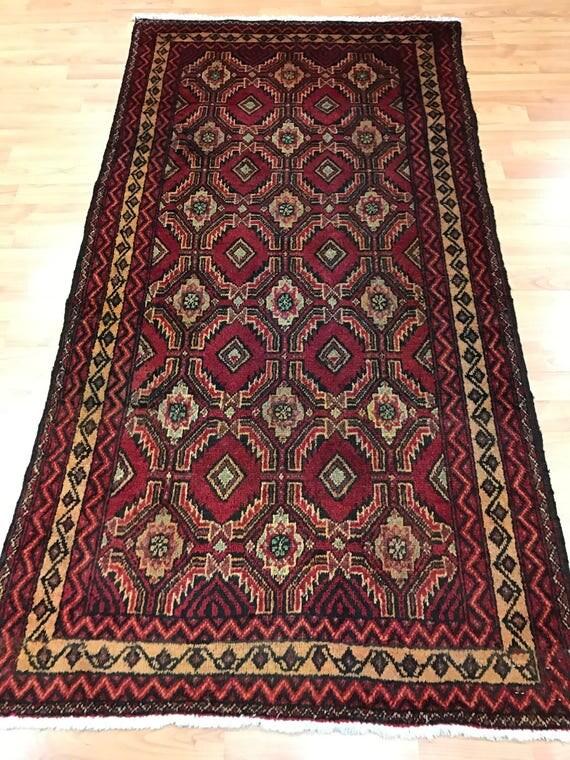"2'10"" x 5'5"" Antique Persian Turkeman Oriental Rug - 1930s - Hand Made - 100% Wool"